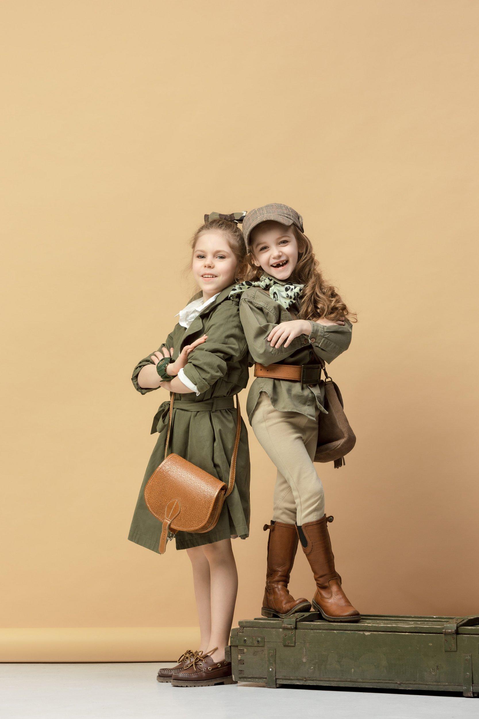 Kids presenting spring fashion